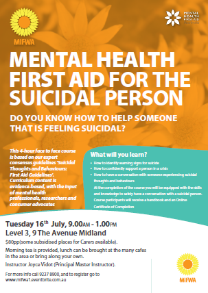 Mental Health First Aid for The Suicidal Person – Midland