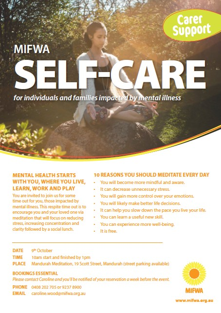 Self-Care – For individuals and families impacted by mental illness
