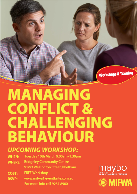Managing Conflict & Challenging Behaviour – Northam FREE Workshop
