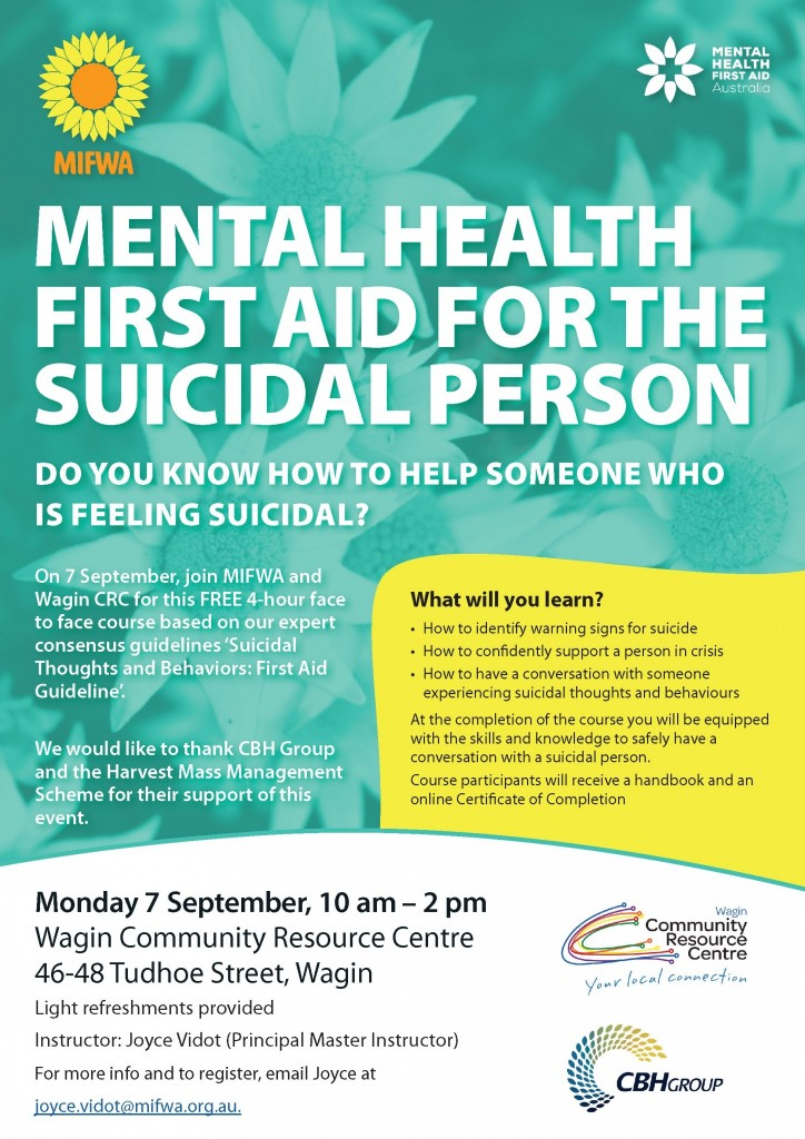 Mental Health First Aid for the Suicidal Person – Wagin