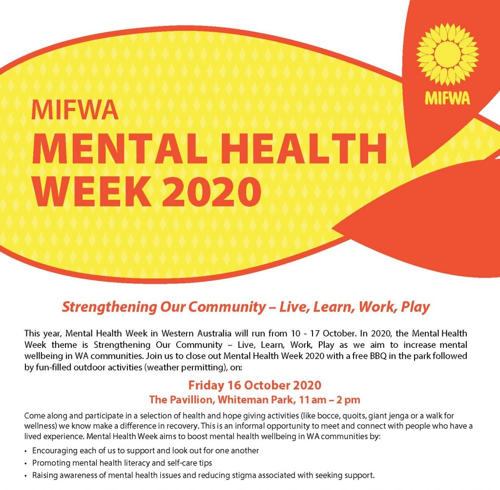 MIFWA BBQ in the Park for Mental Health Week 2020