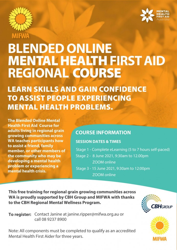Blended Online Mental Health First Aid for Regional Communities BOOKED OUT