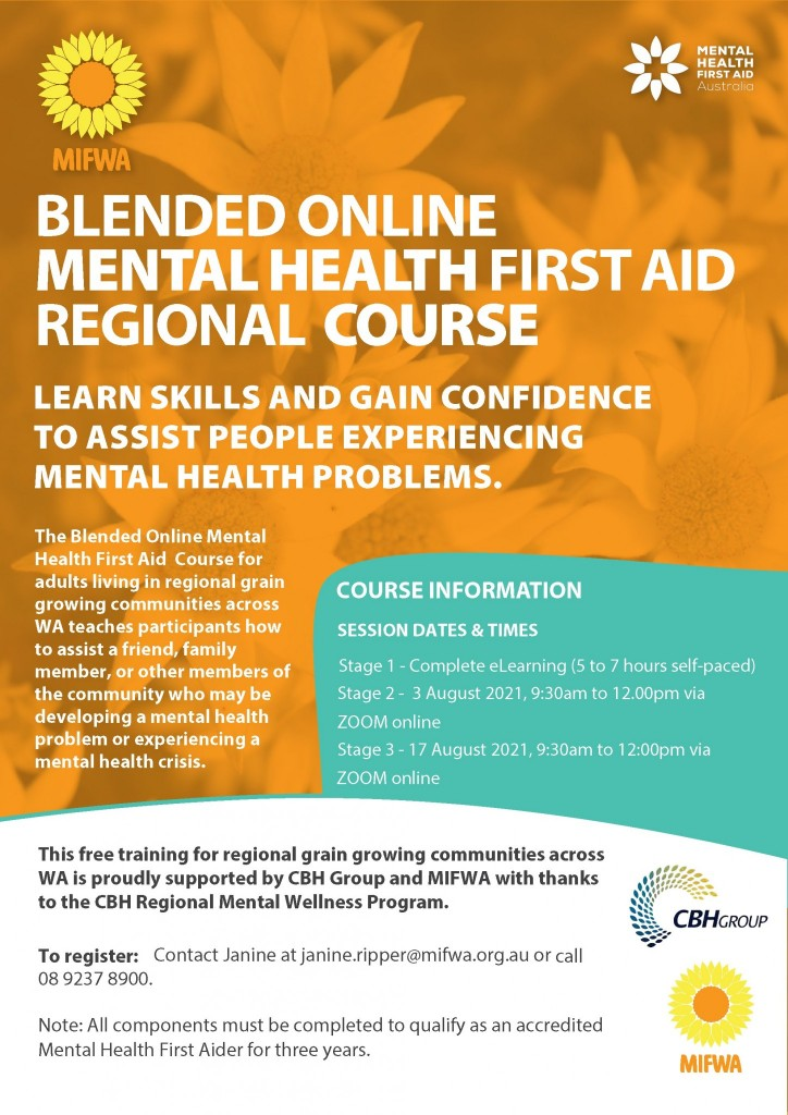 Blended Online Mental Health First Aid for Regional Communities – BOOKED OUT
