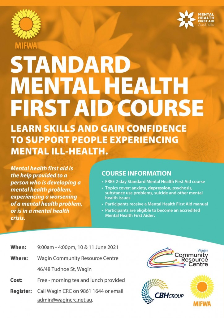 Standard Mental Health First Aid – Free – WAGIN