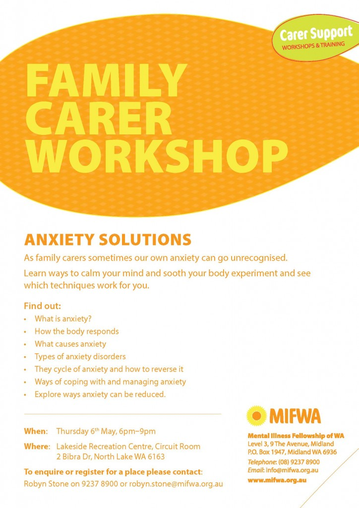 Anxiety Solutions – Family Carer Workshop North Lake