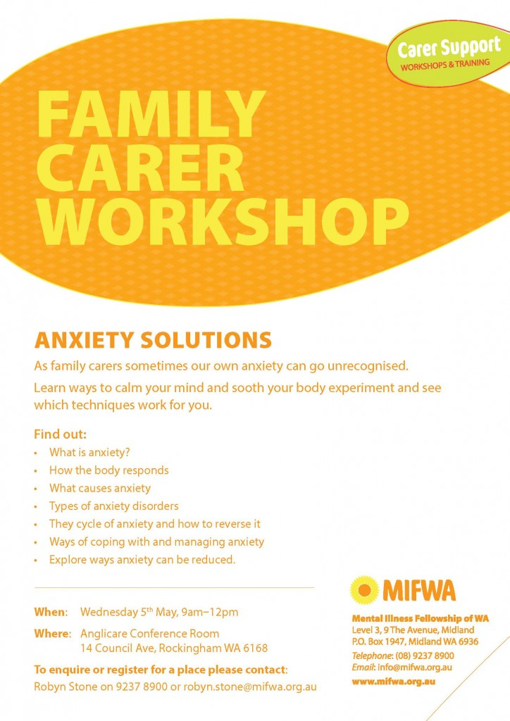 Anxiety Solutions – Family Carer Workshop Rockingham
