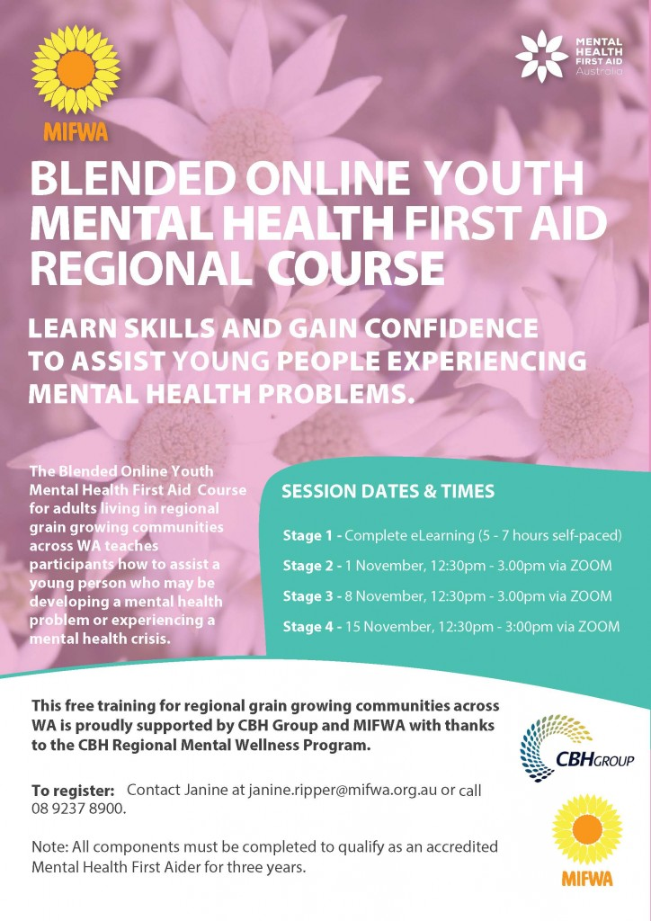 Blended Online Youth Mental Health First Aid for Regional Communities BOOKED OUT